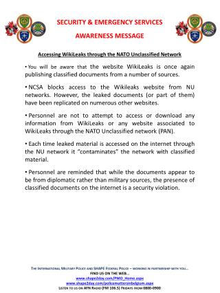 Accessing  WikiLeaks  through the NATO Unclassified Network