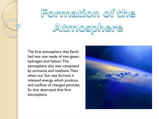 Formation  of  the Atmosphere