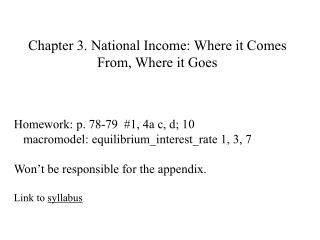 Chapter 3.  National Income: Where it Comes From, Where it Goes