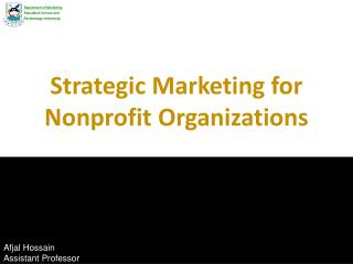 Strategic Marketing for Nonprofit Organizations