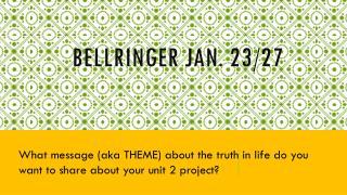 Bellringer Jan. 23/27