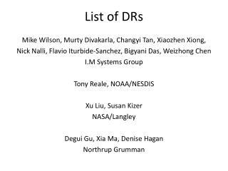 List of DRs