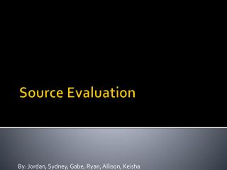 Source Evaluation