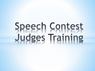 Speech Contest Judges Training