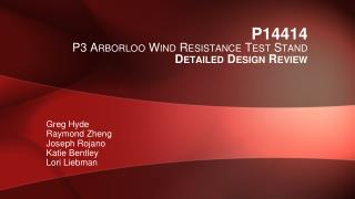 P14414 P3  Arborloo  W ind  R esistance  T est  S tand Detailed  Design Review
