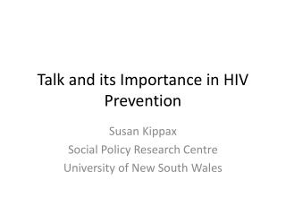 Talk and its Importance in HIV Prevention