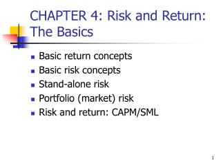 CHAPTER 4: Risk and Return: The Basics