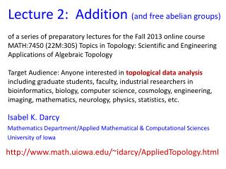 Lecture 2:  Addition  (and free  abelian  groups)