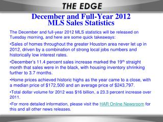 December and Full-Year  2012 MLS  Sales Statistics