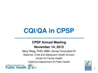 CQI/QA in CPSP