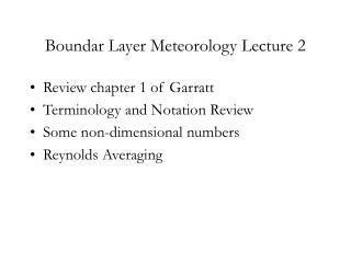 Boundar Layer Meteorology Lecture 2