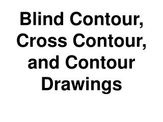 Blind Contour, Cross Contour, and Contour Drawings