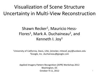 Visualization of Scene Structure Uncertainty in Multi-View Reconstruction