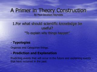 A Primer in Theory Construction By Paul Davidson Reynolds