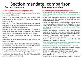 Section mandate: comparison