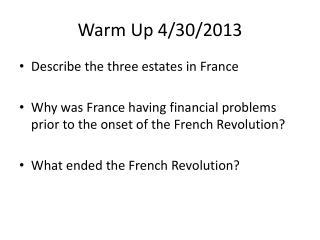Warm Up 4/30/2013