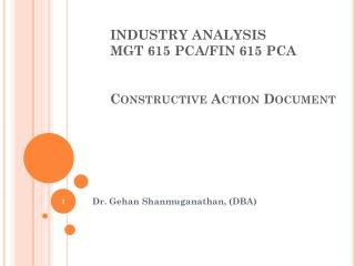 INDUSTRY ANALYSIS MGT 615 PCA/FIN 615 PCA Constructive Action Document