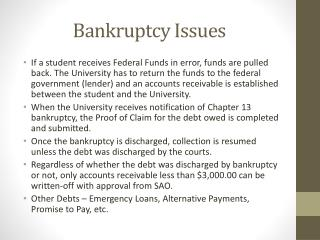 Bankruptcy Issues