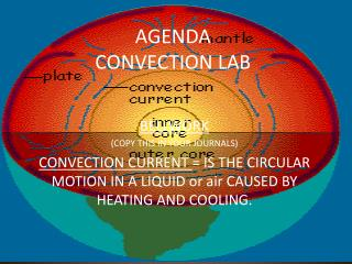 AGENDA CONVECTION LAB