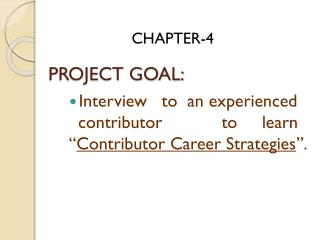 PROJECT GOAL: