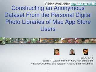 Constructing an Anonymous Dataset From the Personal Digital Photo Libraries of Mac App Store Users