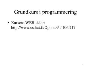 Grundkurs i programmering