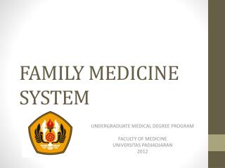 FAMILY MEDICINE SYSTEM