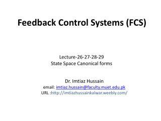 Feedback  Control  Systems (FCS)