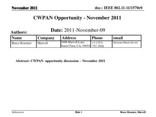 CWPAN Opportunity - November 2011