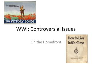 WWI: Controversial Issues