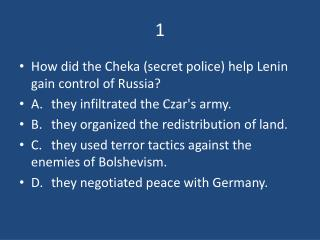 How did the  Cheka  (secret police) help Lenin gain control of Russia?