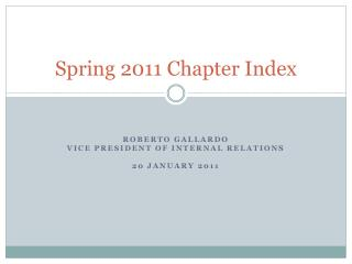 Spring 2011 Chapter Index