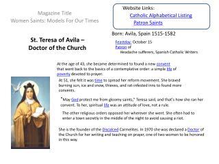 St. Teresa of Avila �  Doctor of the Church