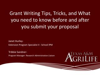 Grant Writing Tips, Tricks, and What you need to know before and after you submit your proposal