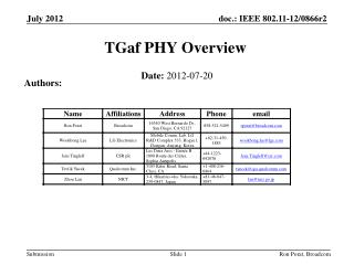 TGaf PHY  Overview