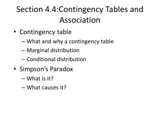 Section 4.4: Contingency Tables and Association