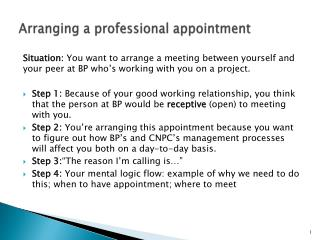 A rranging a professional  appointment