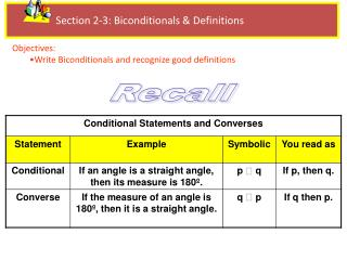 Section  2-3:  Biconditionals & Definitions