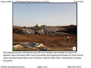 Otay Landfill Inc. 1700 Maxwell Road Chula Vista, CA 91911        37-AA-0010