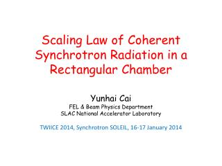 Scaling Law of Coherent Synchrotron Radiation in a Rectangular  C hamber