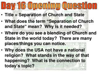 Title = Separation of Church and State