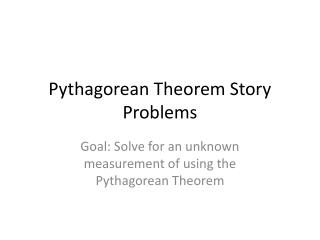 Pythagorean Theorem Story Problems