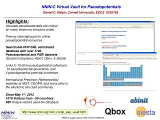 NNIN/C Virtual  Vault for  Pseudopotentials