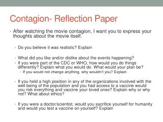 Contagion- Reflection Paper