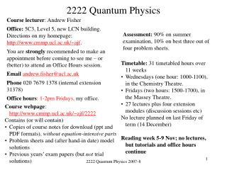 2222 Quantum Physics