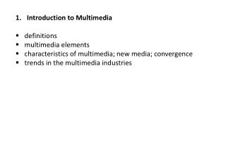 Introduction to Multimedia definitions multimedia elements