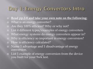 Day 1:  Energy Convertors  Intro