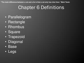 Chapter 6 Definitions
