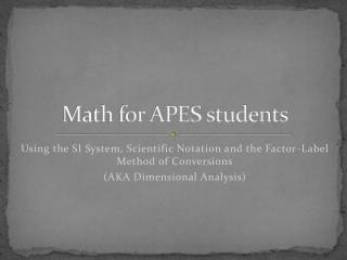 Math for APES students