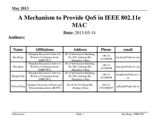 A Mechanism to Provide  QoS  in IEEE 802.11e  MAC